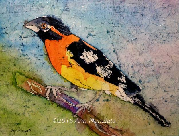 Watercolor, art, bird, grosbeak