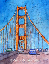 Golden Gate Bridge, watercolor batik, 12x16