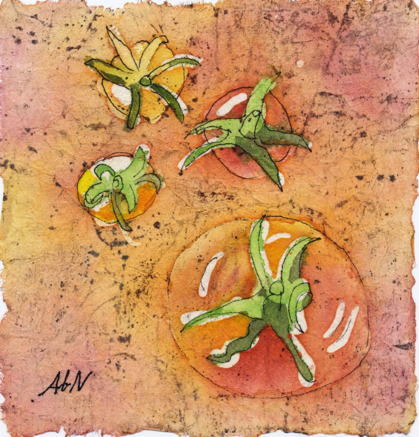 """Summer Tomatoes, 5""""x5"""" watercolor batik"""