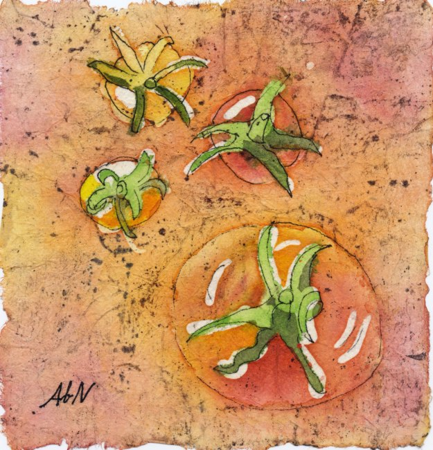 "Summer Tomatoes, 5""x5"" watercolor batik"